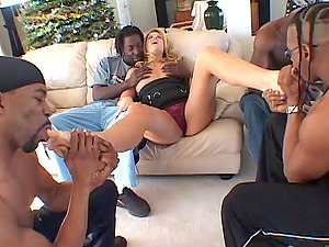 Hypnotized Cougar Gets Gang-fucked In An Interracial Hook-up