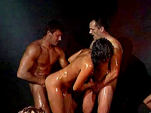 Nasty And Oiled Banging With Sexy Studs And A Insane Cougar Chick