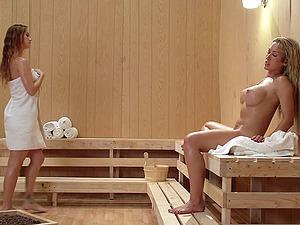 Wild And Hot Girl/girl Fuck Act Inwards A Sauna