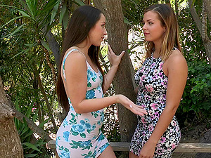 Pretty Sapphic With Natural Tits Finger-tickling A Taut Cunt
