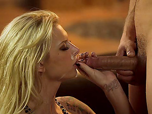 Brooke Banner gets fucked rear end style after pleasing a man with a bj