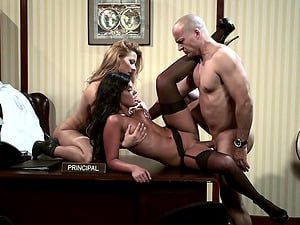 Cindy Hope and Madison Parker in a hard-core office ffm fuck threesome