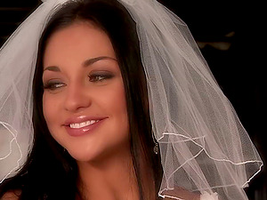 Hard-core hookup movie with Audrey Bitoni wearing a brassiere and a veil