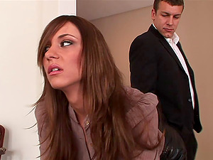 Kinzie Kenner lets a fellow rip her pantyhose and fuck her beaver and caboose