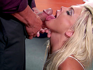 Blonde office lady gulps jizz in missionary act after oral job