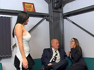 Donna Marie & Poppy Morgan inhale in FFM clip and get fucked doggystyle
