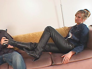 Liz likes female dom film and gets her toes munched after eliminating socks