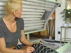 Huge-chested short-haired blonde cougar luvs romp in a solarium