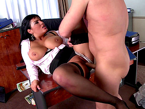 Huge-chested black-haired Jasmine Black, luvs some hot banging in an office