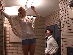 Kinky upskirt flick as a boy peeks up a Japanese damsel's miniskirt