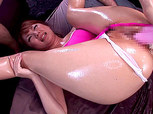Tsubasa Amami gets her oiled labia fingerblasted, toyed and fucked