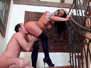 Kinky Euro Maid Honey Demon Having Fucky-fucky on the Stairs
