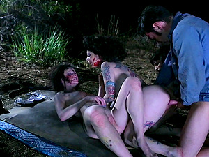 Crazy zombie four way with two dirty whores outdoors