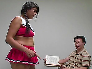 This very aggressive cheerleader bites his man sausage and penalizes his nut
