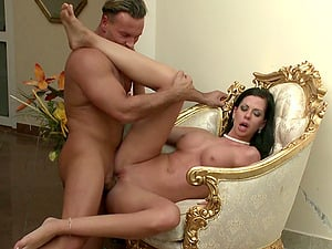 Black-haired gets spunk on her tits after gonzo fucking and BJ