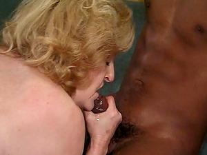 Granny deepthroats jizz-shotgun and gets her vulva fucked by two black studs