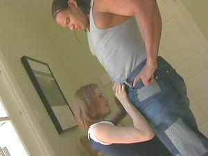 Nerdy chick gets a mouthhole of jizz after a hard fuck