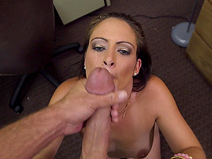 Enticing dark-haired sex industry star rails a big man sausage before taking a facial cumshot cum-shot