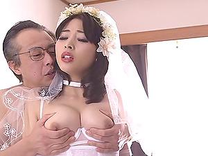 Beautiful Japanese bride in milky underwear bangs a dirty old man