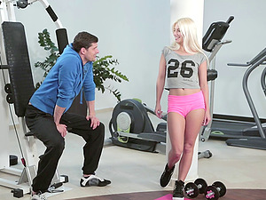 Jessie Volt meets a stud at the gym and gets a workout on his shaft
