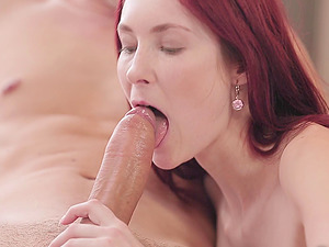 In the bathroom this pretty red-haired gives the bootie to her man