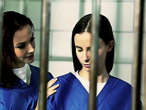 Fellow female prisoners ease off in their cell and eat some snatch