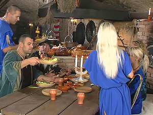 Medieval tavern crammed with people ready to fuck hard