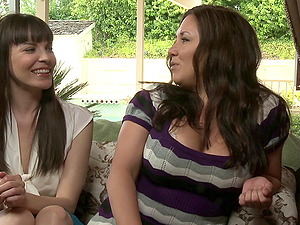 Sexy and bosomy bitches attempt out their very first time lezzies shoot