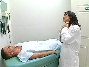 Sexy dark haired doc fucks her patient to heal him