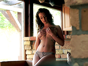 Desirous solo model masturbating with a fucktoy till orgasm