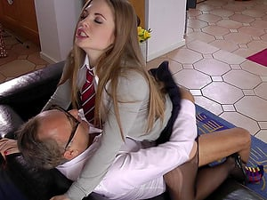 An guiltless coed hooks up with an older man after class