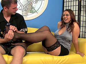 Doting first-timer in glasses loves a xxx cowgirl pose fuck on the couch