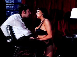 Romi Rain blows the trussed man and frees him to fuck her cootchie