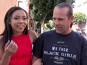 A group of milky dudes group fuck a promiscuous black dame