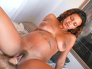 Curly haired Latina tramp receives a thick goopy facial cumshot