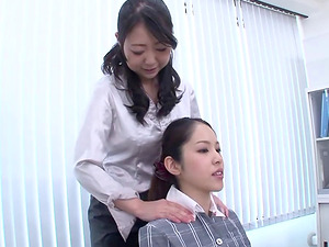 Female Japanese girl-on-girl chief tempts a hot colleague