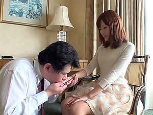 Romantic dude with a foot worship does his thing best with her wifey's feet in Point of view