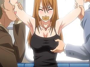 Ball-gagged anime porn honey gets gang-fucked