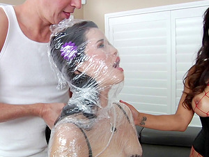 Obedient whore gets used xxx by a woman and a dude