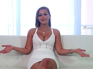Vamp in a cock-squeezing milky sundress fucks on the casting couch