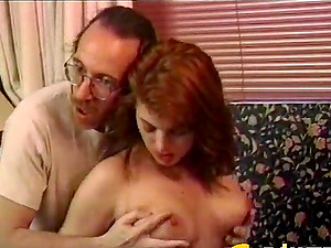 Clothed sandy-haired has her cunt slurped by an average looking dude