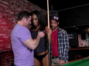 Trampy black dame fucks numerous milky guys in a bar