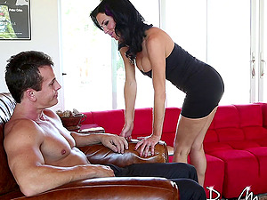 Outstanding dark haired Cougar with big tits only likes it hard-core