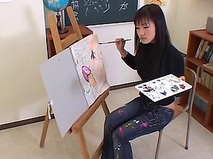 Artistic Asian nymph paints his figure then bj's his man sausage