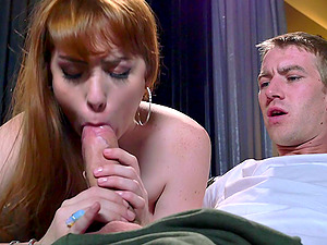 Dude fucks a sexy ginger-haired with his big, fat manstick and makes her jizm