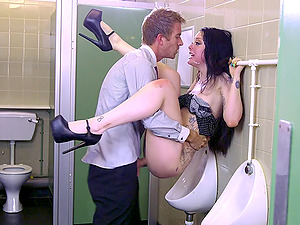 Manager's Bratty Daughter-in-law in an enticing clip with a security officer in washroom