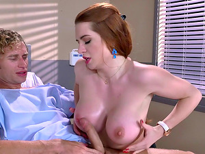 Athletic fucking of a hot red-haired with amazing big tits