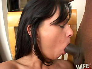 Dark haired wifey is a tart for big black chisels only