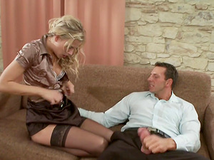 Soft blonde wears stockings and daydreams about his dick