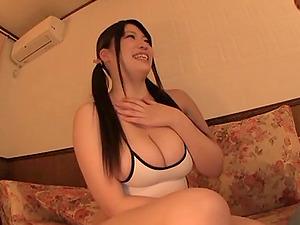 Chubby Japanese honey gives a tit banging and fucks him hard